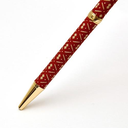印伝油性ボールペン ひょうたん 赤革×白漆