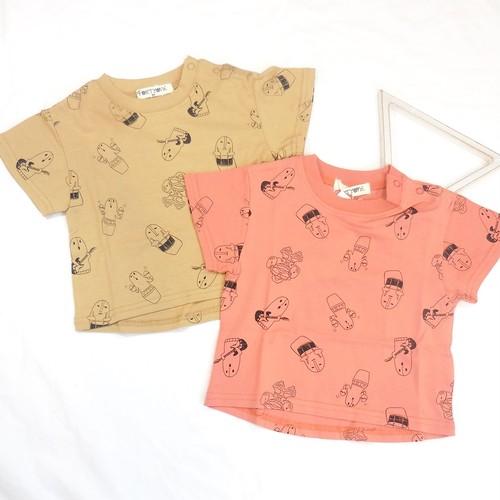 はにわ柄半袖Tシャツ2枚セット 双子ベビー服2枚セット ALLツイン <20ss-mt024f-H>