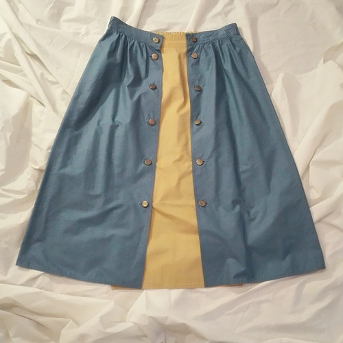 水色×黄色 TWO-TONE COLOR SKIRT