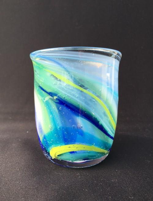 1点もの!麻炭ガラス/練り込みマーブルグラス No,04