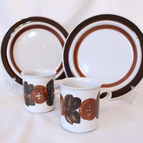 ARABIA  アラビア ANEMONE アネモネ コーヒーカップ&プレートペア 2個 ブラウン 美品 【AB1911-F1.2】