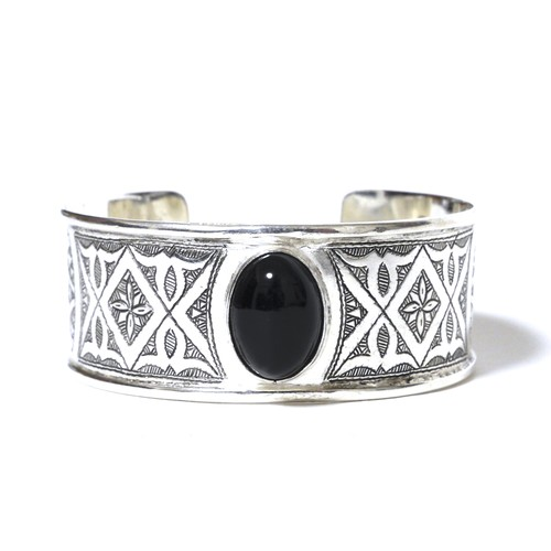 African Tuareg Silver & Onyx Traditional Bangle