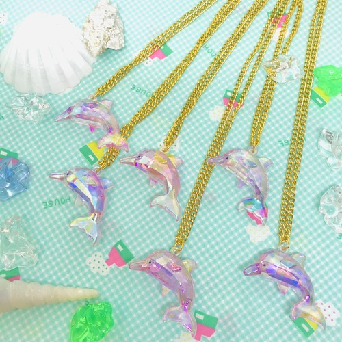 イルカのオーロラネックレス1P☆駄菓子屋アクセサリー