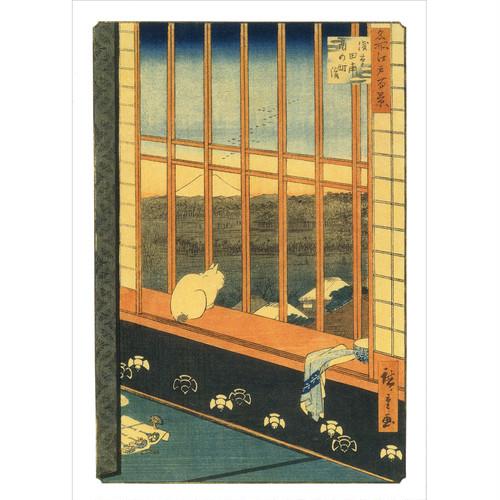 猫ポストカード(歌川広重窓辺の猫)