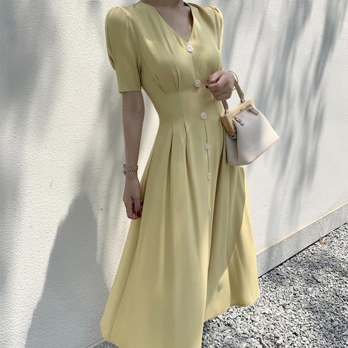 【dress】定番シンプルVネックボタンデザインデートワンピ5色人気デザイン