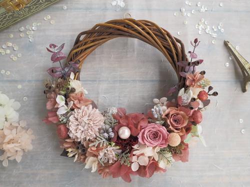 Lune Bonheur Rose beige**ハーフムーンリース*プリザーブドフラワー・お花・ギフト*クリスマス*結婚祝い*冬の贈りもの*2018