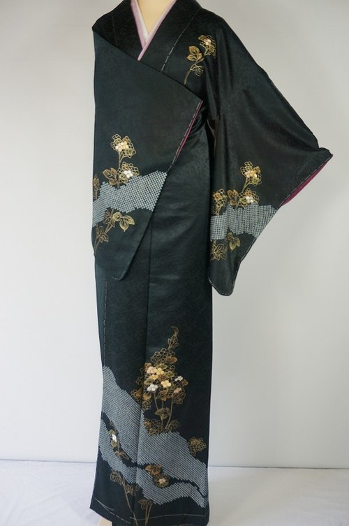 未使用 三松謹製 鹿の子絞り 刺繍 訪問着 柏葉紫陽花 正絹 黒 金彩 262