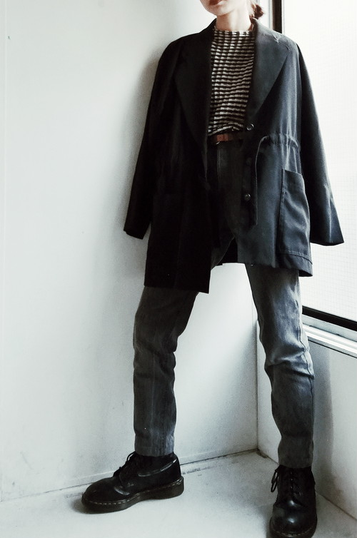 JAPAN USED / LIGHT BLACK COAT.