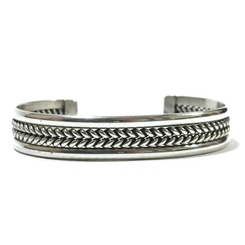 Navajo Vintage Sterling Silver Twisted Wire Bangle by Tahe