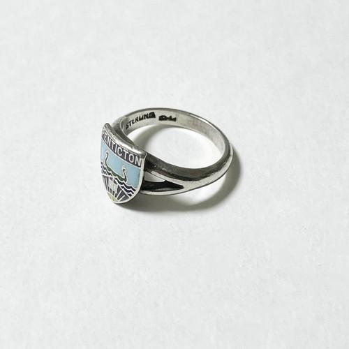 Vintage Enamel Sterling School Ring