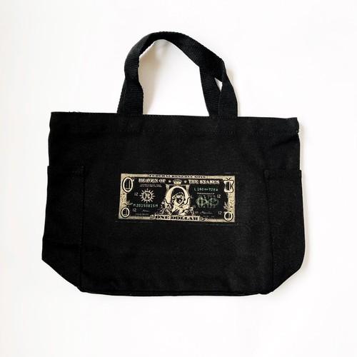 真理藻 ( marimo ) ドル札 サイドポケット付 ミニ トート ブラック