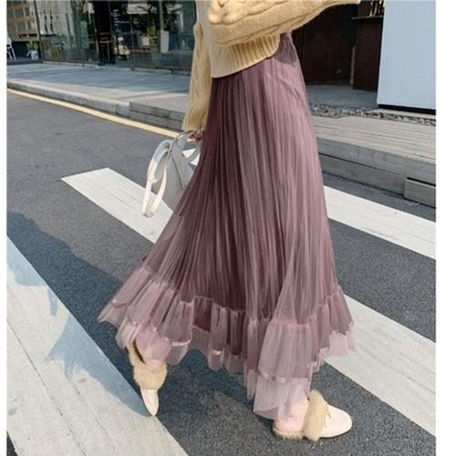4色 プリーツ シフォン スカート ロング丈 デート レディース ファッション 韓国 オルチャン