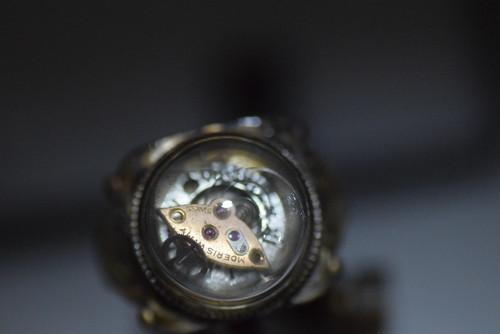 時計部品の指輪 ガラスドーム15mm roku倉敷 スチームパンク