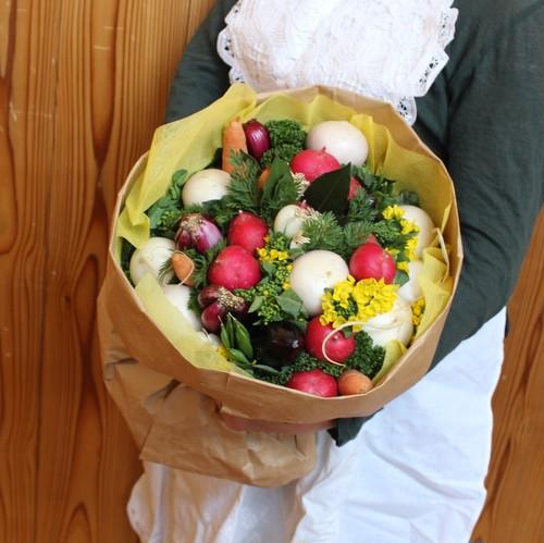 【いろいろ野菜のブーケ L 黄色ラッピング】食いしん坊のブーケシリーズ