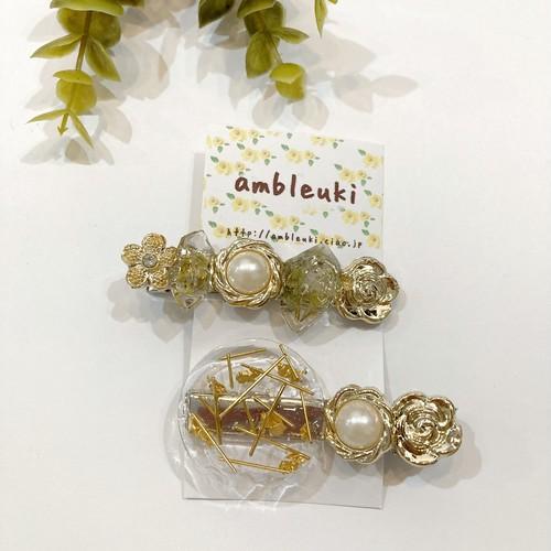 【ambleuki】2setヘアクリップ(樹脂ボタン)