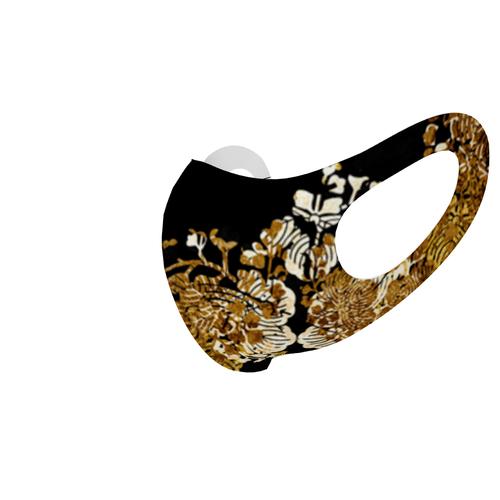 和柄家紋装飾ゴールド 和柄ファッションマスク Sサイズ