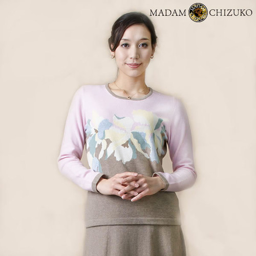 MADAM CHIZUKO / カトレア柄クルーネックプルオーバー / カシミヤ100%(イタリア糸使用)