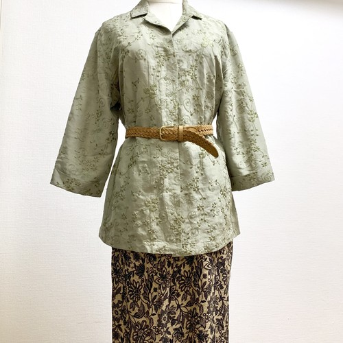 Vintage Silk Embroidery Shirt
