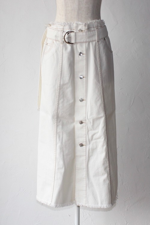 【SAYAKADAVIS×SERGE de bleu】Denim Button Skirt-white