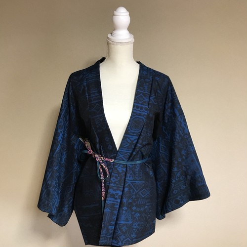 【HA11】Vintage HAORI Silk Deep blue × black