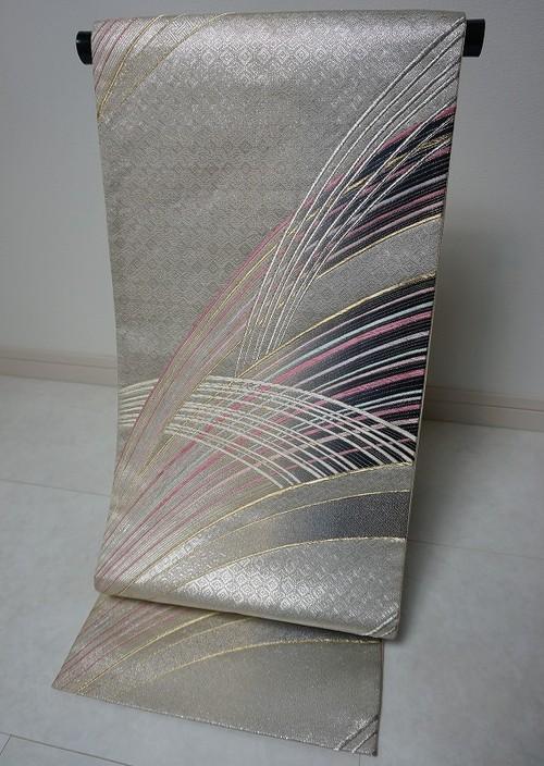 流線柄 袋帯 銀糸 紫 ピンク 125