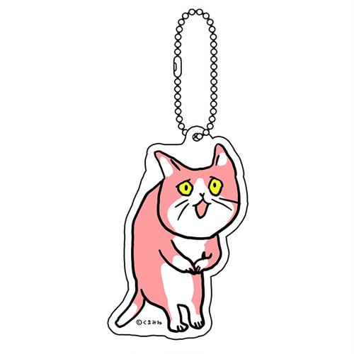 「これからしかられるネコ」アクリルキーホルダー(ピンク)