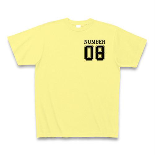 Number8(ナンバーエイト) カレッジナンバー胸元ワンポイントTシャツ(ライトイエロー)