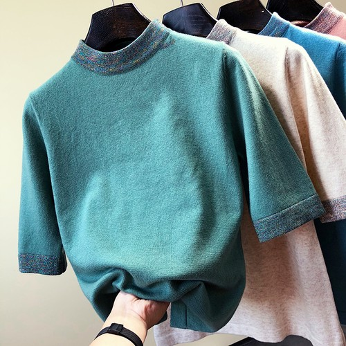 Lame patchwork turtleneck top ラメ パッチワーク タートルネック トップス