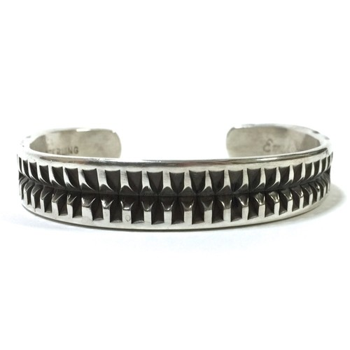 Navajo Vintage Sterling Silver Stamp Bangle by Emerson Bill