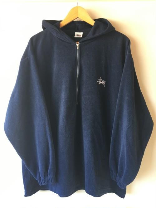 STUSSY Velour Half Zip Pullover Parka