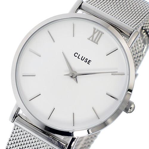 クルース CLUSE ミニュイ メッシュベルト 33mm レディース 腕時計 CL30009 CW0101203002 シルバー/ホワイト ホワイト