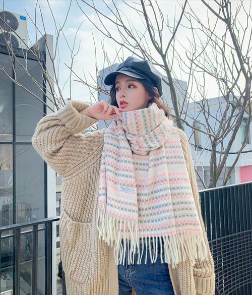 【マフラー】保温する ギンガム チェック 爽やか キュート アンサンブル/4