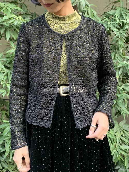(TOYO) low gauge lame knit cardigan