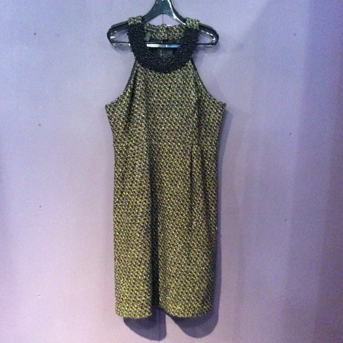 black×white beads design wool onepiece [B1376]
