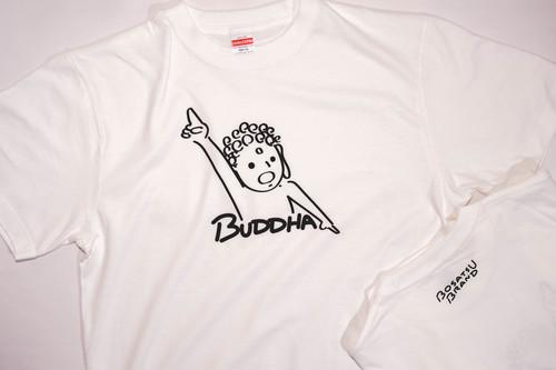 【仏像Tシャツ】天上天下唯我独尊Tシャツ 半袖 ホワイト 線ブラック(サイズM・L ) かわいい ゆったりサイズ 男女兼用 仏像Tシャツ