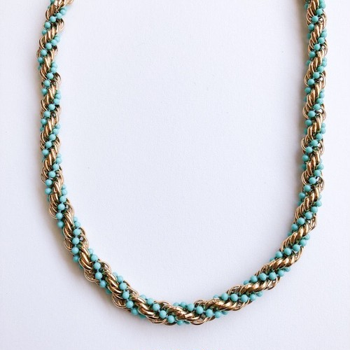 """AVON"" gold & turquoise necklace[n-96]"