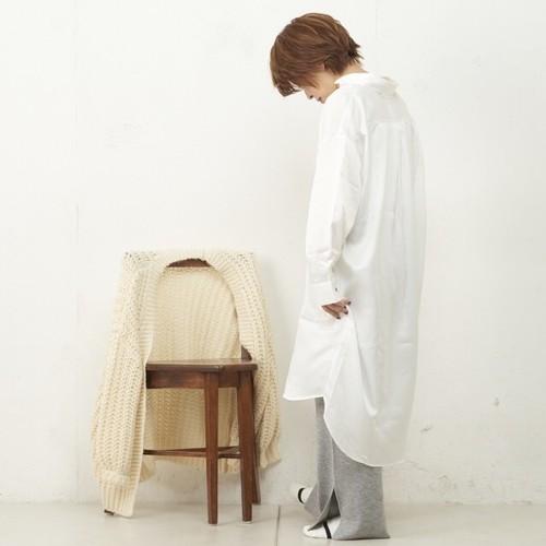 【TERRITOIRE】689995040 サテンシャツワンピ(A/ホワイト)