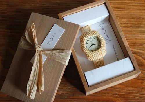 kurumi時計(大):Msize~草木染め「きはだ」~