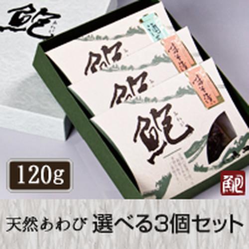 玄界灘産活きアワビ 選べる3個詰合せ(120gサイズ)