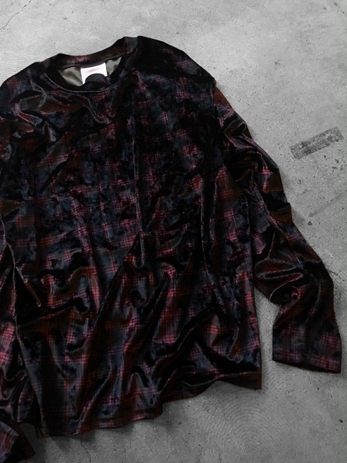 shadow plaid velor pullover