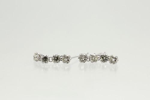 K18WG 0.5ct三連ダイヤモンドピアス
