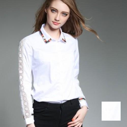 トップス ブラウス・シャツ 定番スタイル 大人シャツ 肌見せ 襟コン パンチングレース 袖コン 刺繍 ホワイト S M L XL