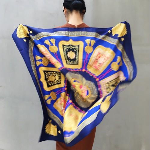 HERMES Royal blue silk scarf