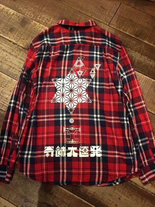 『奇跡大連発』ネルシャツ size L (Quiksilver) 1点物