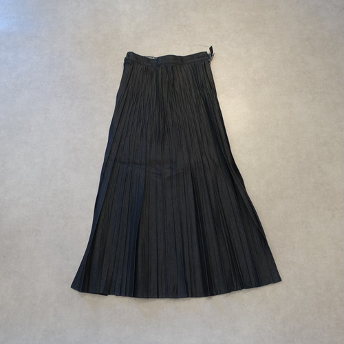 21075  ランダムプリーツスカート/ブラックデニム