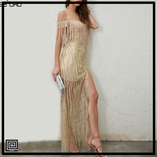 オフショルダータッセルスプリットゴールドドレス