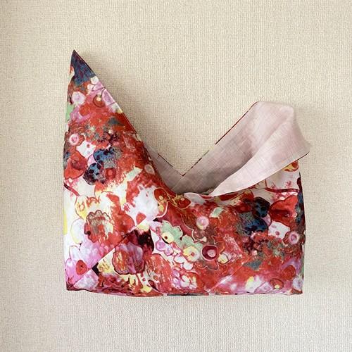 花柄×先染リネン あずま袋
