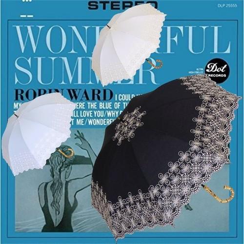 傘 日傘 レディース 手開き パラソルエンブロイダリーレース刺繍 サークル 47cm UVカット
