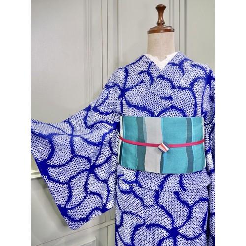有松鳴海絞り浴衣*アクアネイビーゆらぎ 0340