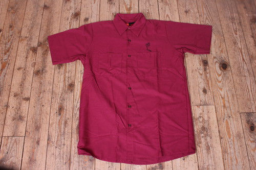 BR TOBACO WORK SHIRT BURGUNDY/WHITE
